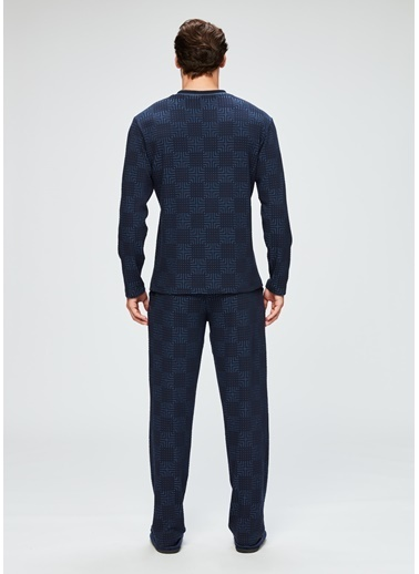 Dagi V Yaka Uzun Kollu Pijama Takımı Mavi